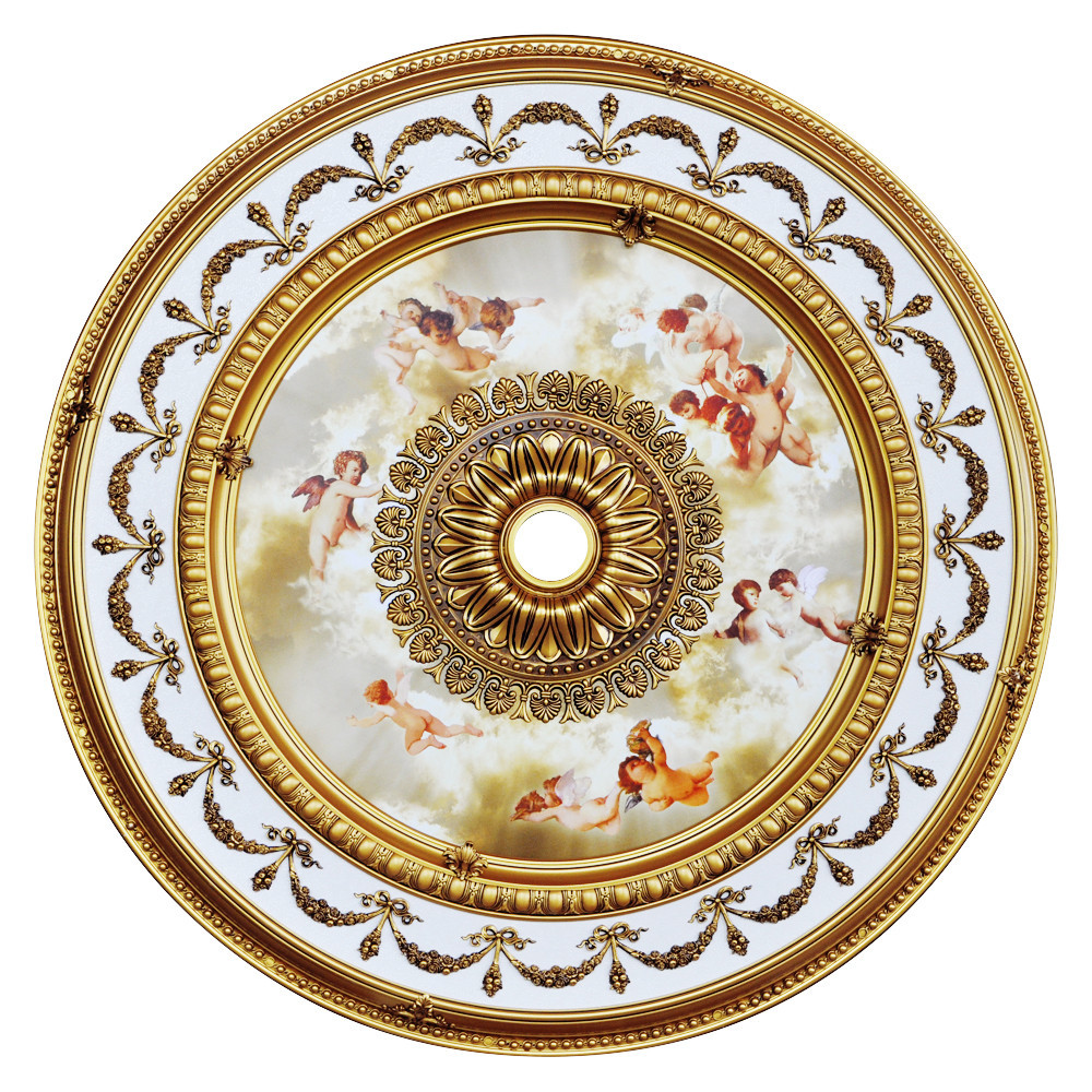 Banruo Gold and White Classic PS Polystyrene Interior Ceiling Tiles Medallions