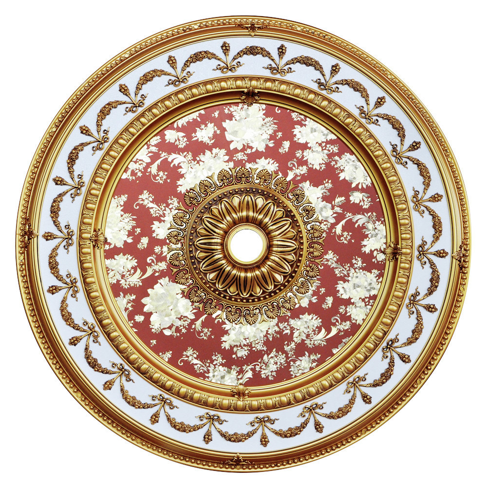 Banruo Exotic Lotus Flower Painting PS Polystyrene Architectural Ceiling Panels Decor Medallions