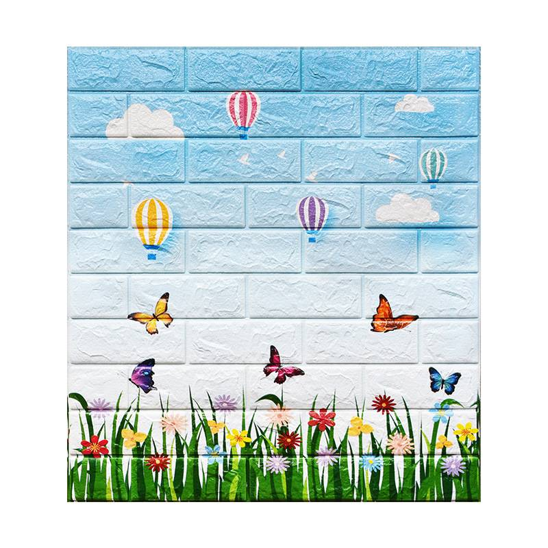Cheap Price 2020 Pop Cartoon Brick Blue Wallpaper Sticker 3D For Home Interiors